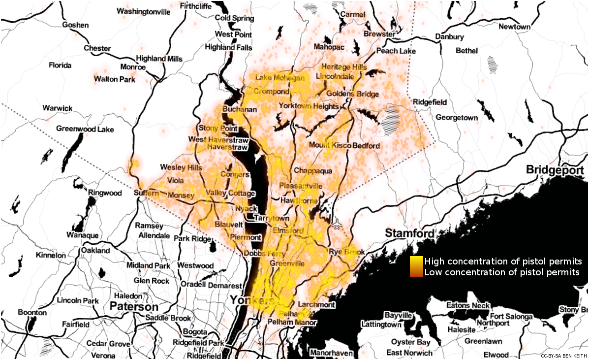A heatmap of the pistol permit locations  in Westchester and Rockland counties, New York. Yellow indicates areas of high concentration, orange low. This image is CC-BY-SA Ben Keith, made using Toner and OpenStreetMap.