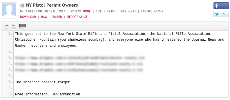 Journal News website exposed list of gun owners' addresses, by Ben Keith