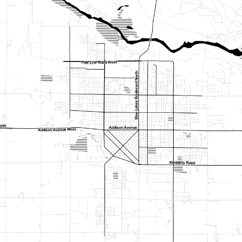 Twin Falls, Idaho, displayed as a black-and-white map. Maps by Stamen Design.